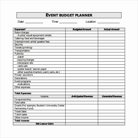 Party Planning Budget Template Fresh 9 event Bud Samples
