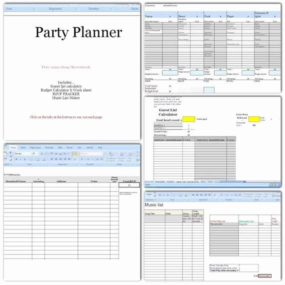 Party Planning Budget Template Luxury Party Planner Bud Headcount Play List Music Rsvp