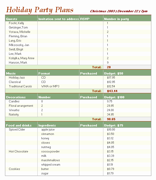 Party Planning Budget Template New Holiday Bud Planner Fice Templates