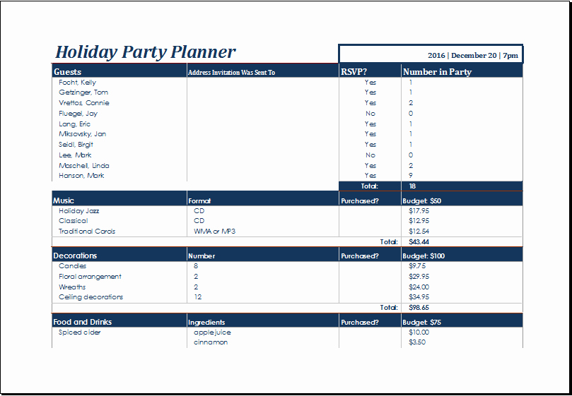 Party Planning Budget Template New Ms Excel Printable Holiday Party Planner Template