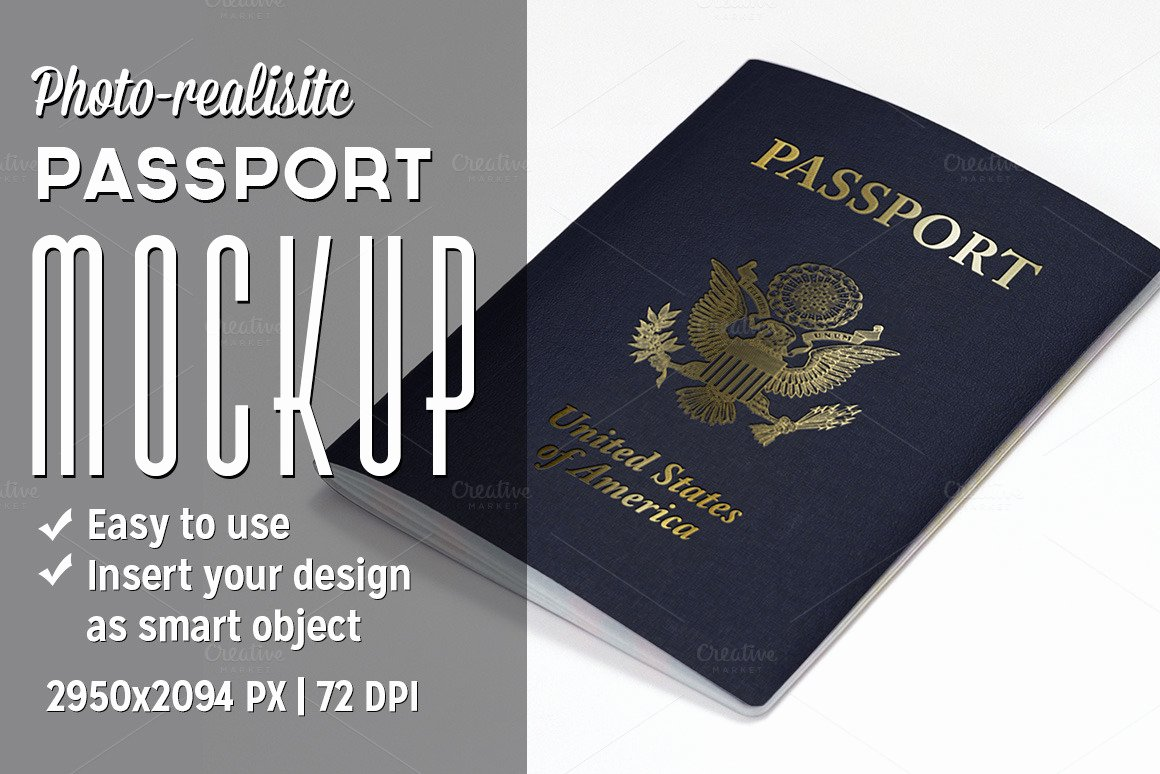 Passport Photo Template Psd Beautiful Passport Mockup Product Mockups On Creative Market