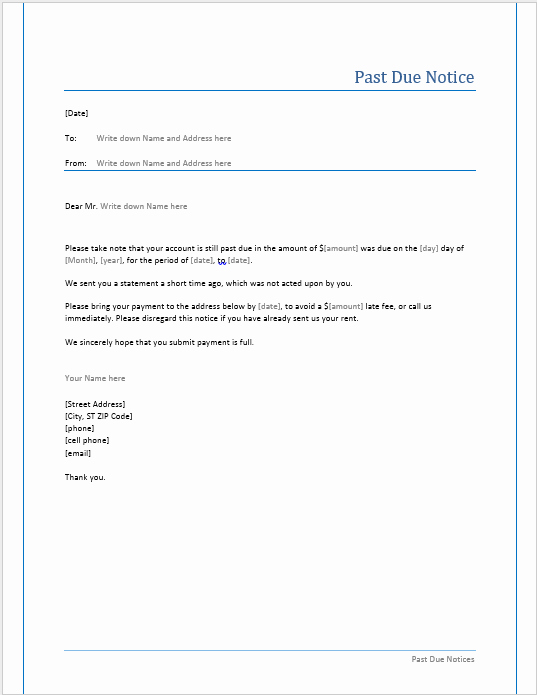 Past Due Invoice Template Best Of Past Due Notice Template – Microsoft Word Templates