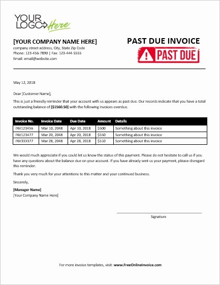 Past Due Invoice Template Elegant Free Professional Past Due Invoice