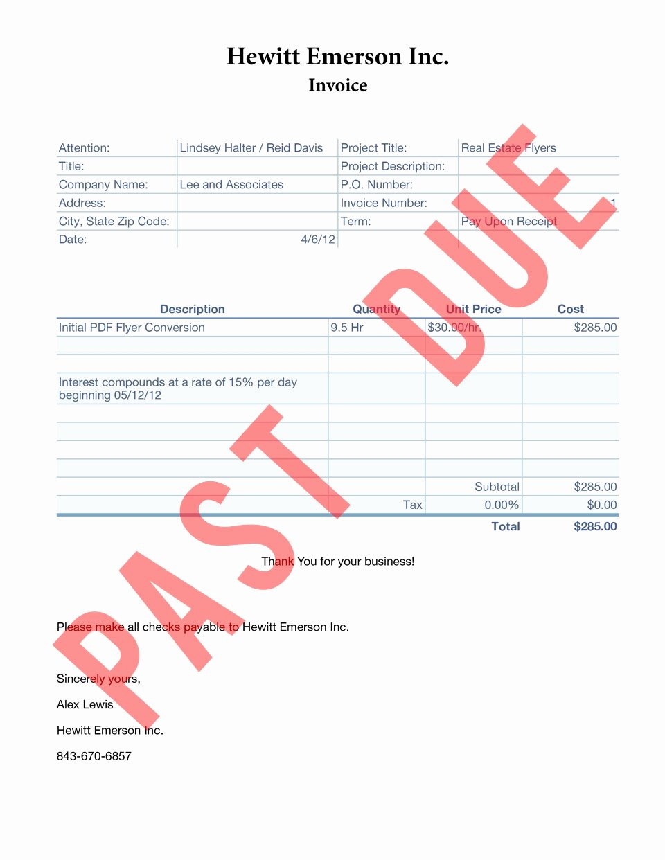Past Due Invoice Template Lovely Past Due Invoice