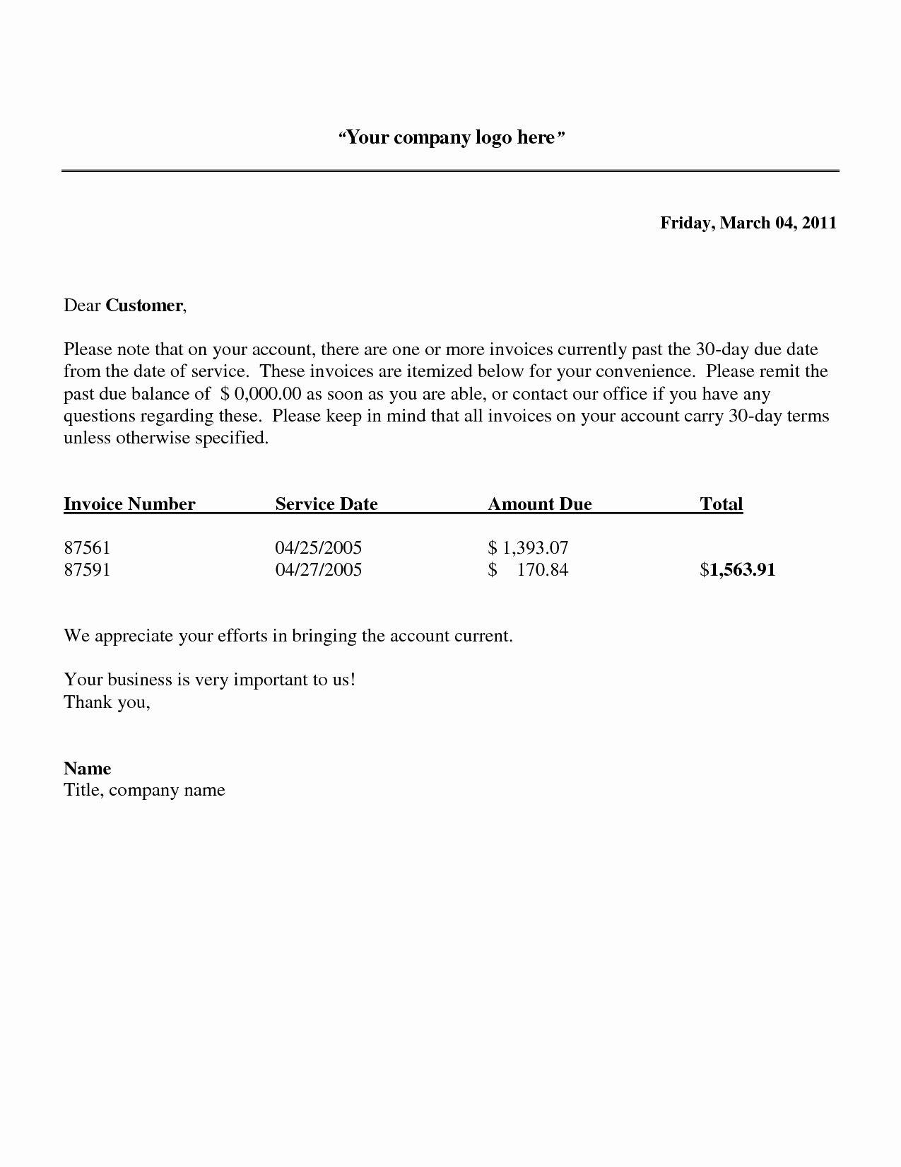 Past Due Invoice Template New Past Due Invoice Letter Invoice Template Ideas