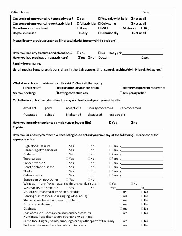 Patient Intake form Template Best Of New Patient Intake form Word Active Edge Chiro