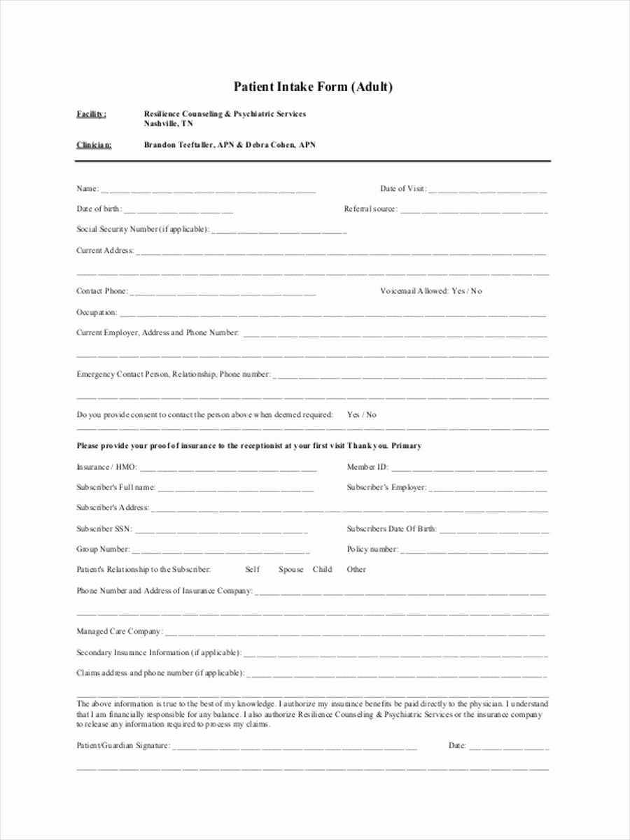 Patient Intake form Template Fresh 34 Counseling form Templates
