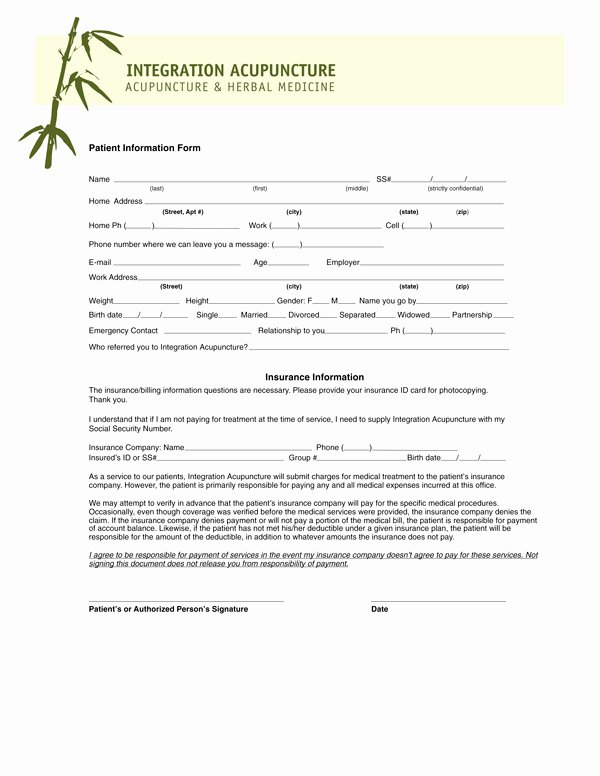 Patient Intake form Template Lovely Acupuncture forms Reverse Search
