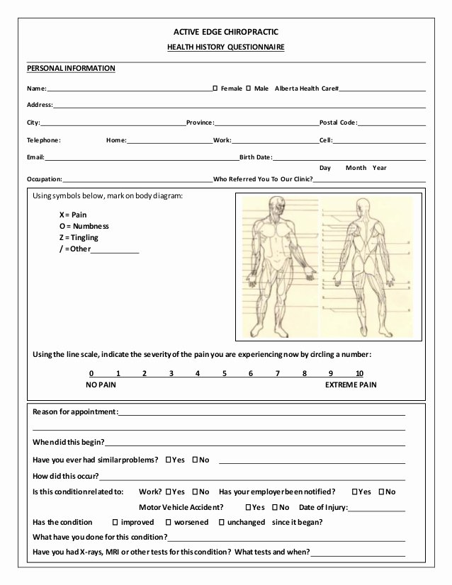 Patient Intake form Template New Medical History form Template