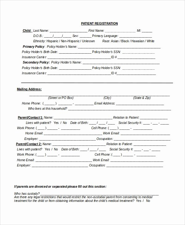 Patient Registration form Template Awesome 9 Patient Registration form Templates
