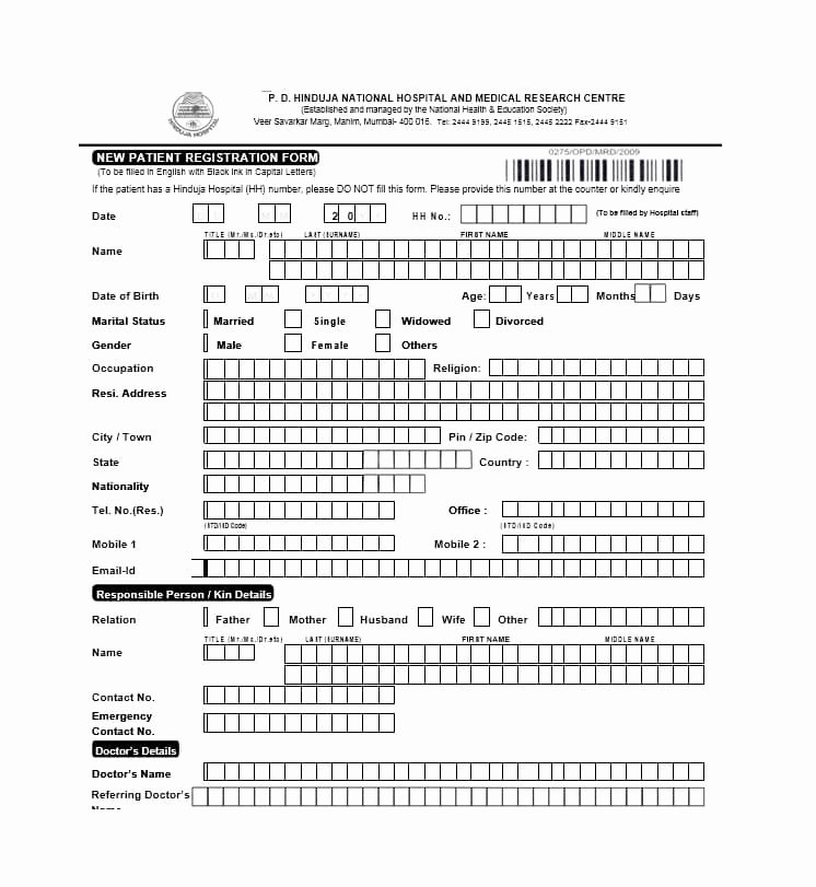 Patient Registration form Template Fresh 44 New Patient Registration form Templates Printable