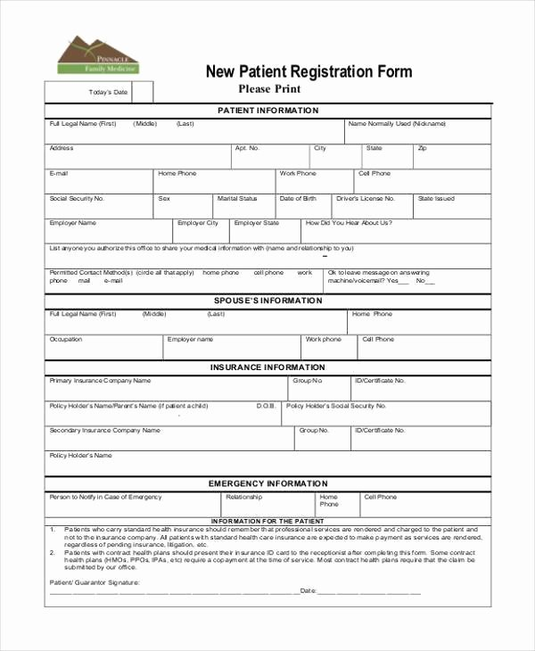 Patient Registration form Template Inspirational Registration form Templates