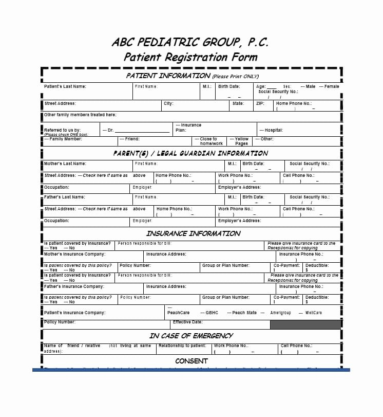 Patient Registration form Template New 44 New Patient Registration form Templates Printable