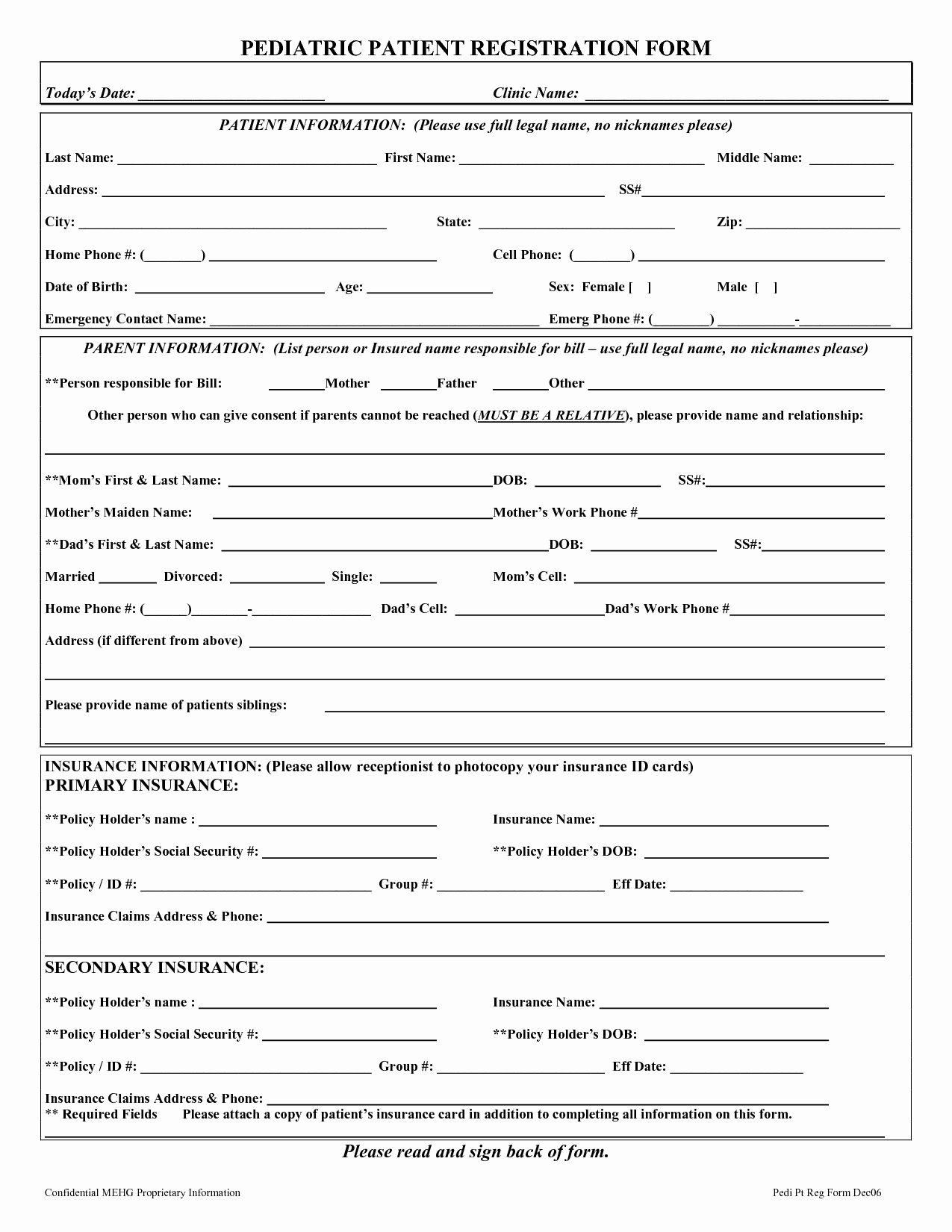 post printable patient registration forms