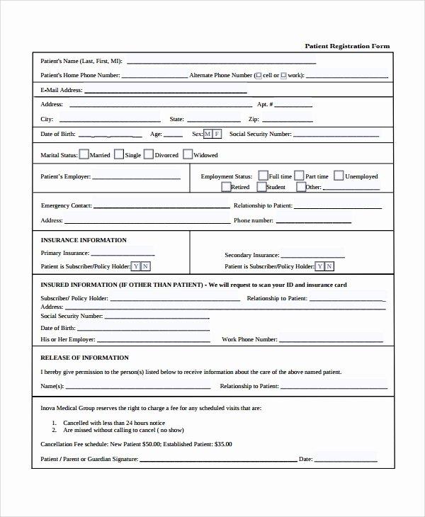 Patient Registration form Template Unique 9 Patient Registration form Templates