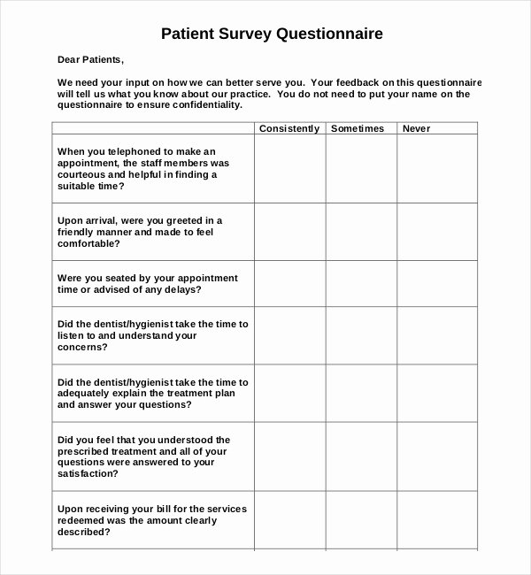 Patient Satisfaction Survey Template Awesome 14 Patient Survey Templates – Pdf Word