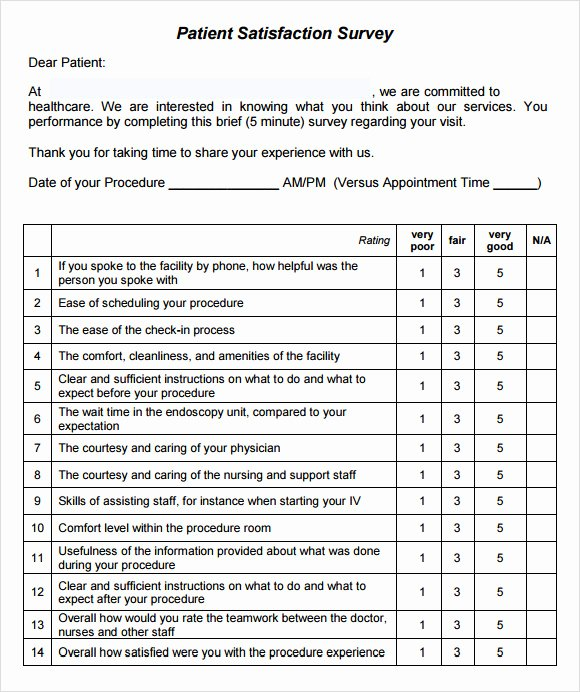 Patient Satisfaction Survey Template Beautiful 11 Sample Patient Satisfaction Survey Templates to