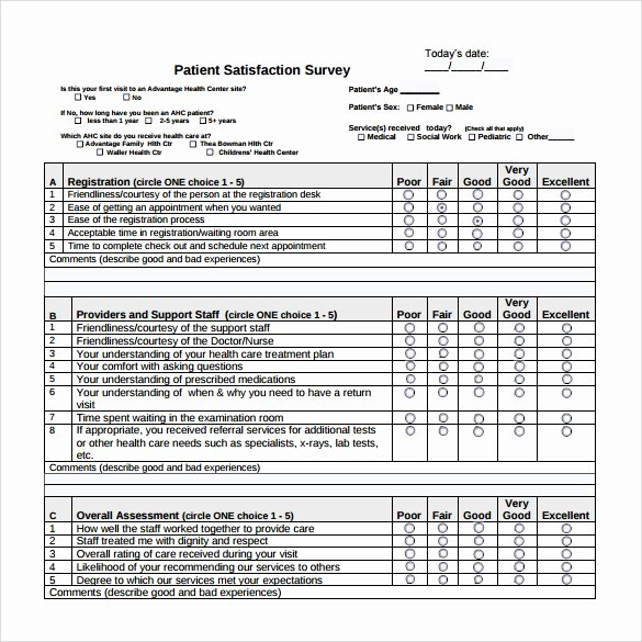 Patient Satisfaction Survey Template Fresh Patient Satisfaction Survey 9 Download Free Documents
