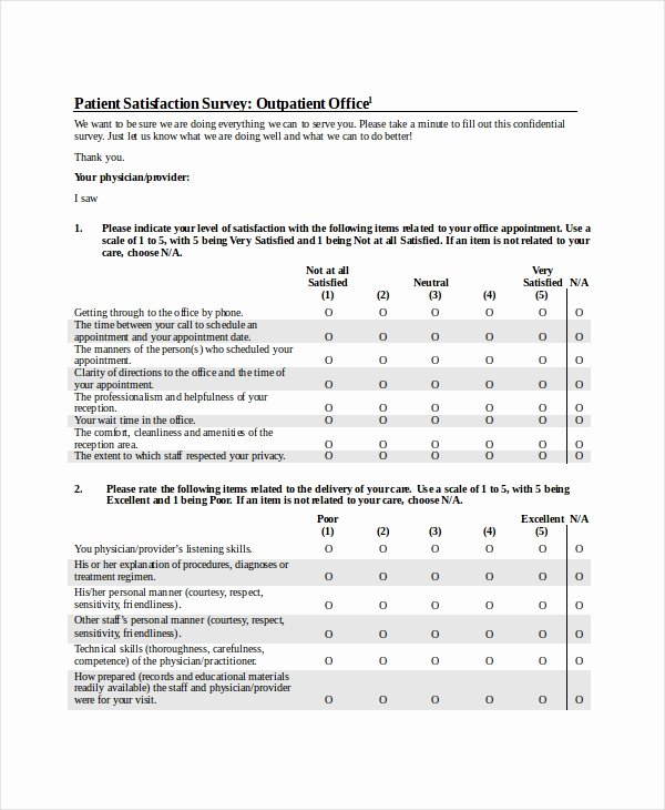 Patient Satisfaction Survey Template Fresh Sample Patient Satisfaction Questionnaire forms 9 Free