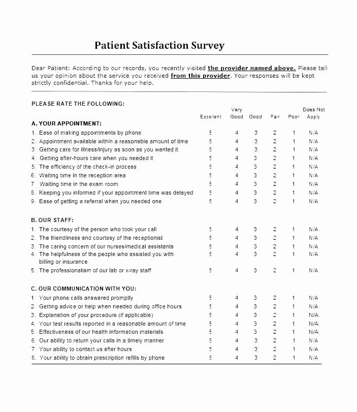 Patient Satisfaction Survey Template Lovely Patient Survey Template Customer Service Survey Template