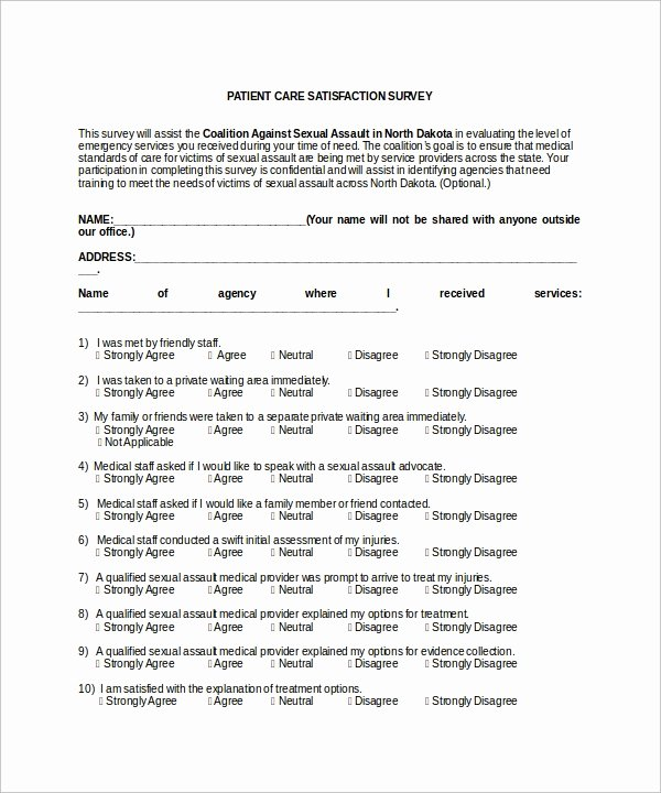 Patient Satisfaction Survey Template Lovely Patient Survey Template Download Free Documents In Word Pdf