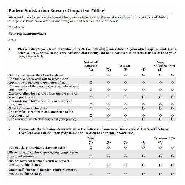 Patient Satisfaction Survey Template Luxury 9 Patient Survey Template Word Pdf