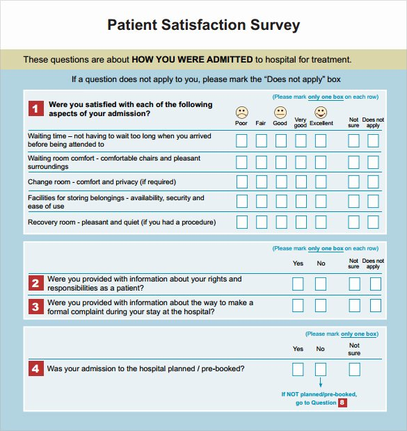 Patient Satisfaction Survey Template New Patient Satisfaction Survey 10 Samples Examples format