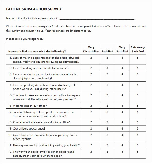 Patient Satisfaction Survey Template Unique 11 Sample Patient Satisfaction Survey Templates to