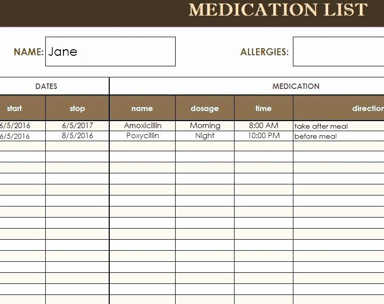 Patient Tracking Excel Template Inspirational Home Medication Chart Template Blank Medication