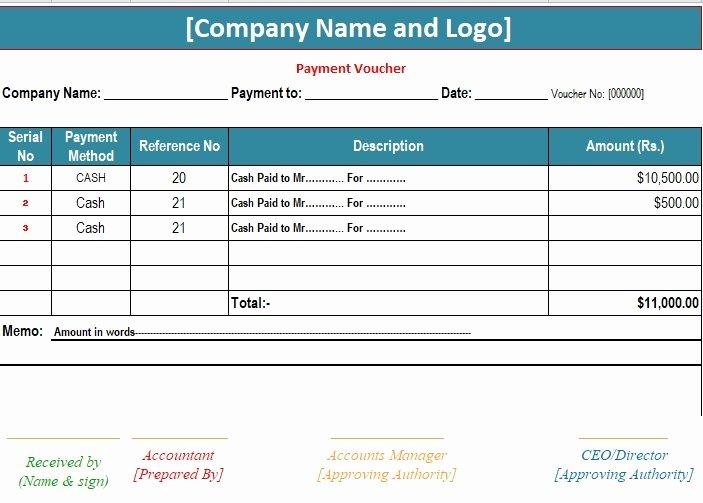 Payment Receipt Template Excel Elegant 3 Sample Payment Voucher Template Excel Pdf Word