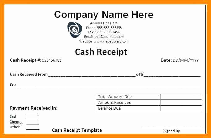 Payment Receipt Template Excel Lovely Invoice Maintenance Template Cash Receipt format In Excel