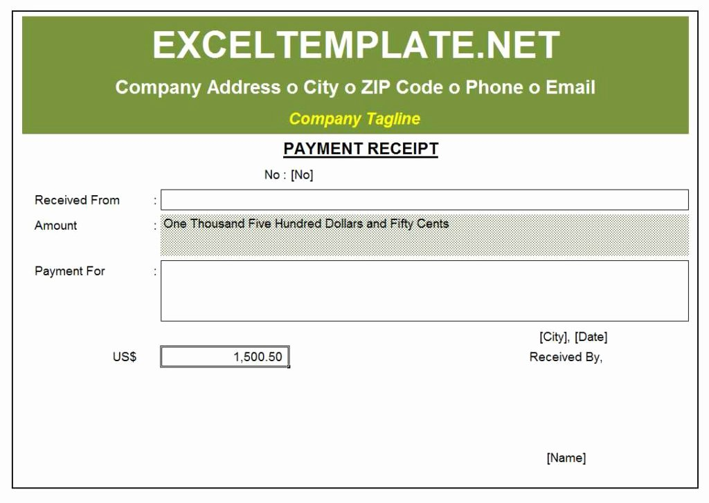 Payment Receipt Template Excel Luxury Payment Receipt