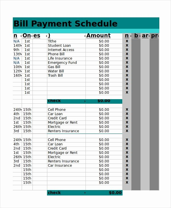 Payment Schedule Template Excel Beautiful Excel Schedule Template 11 Free Pdf Word Download