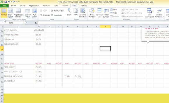 Payment Schedule Template Excel Beautiful Free Chore Payment Schedule Template for Excel 2013