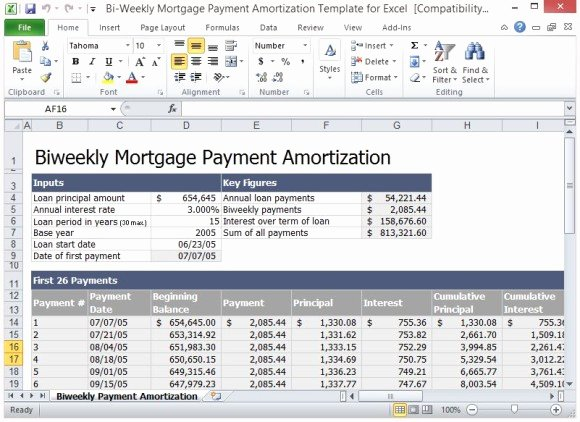 Payment Schedule Template Excel Fresh Bi Weekly Mortgage Payment Amortization Template for Excel