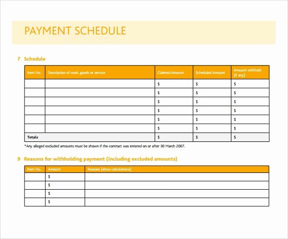 Payment Schedule Template Excel Luxury Simple Project Payment Schedule Templates Excel Template