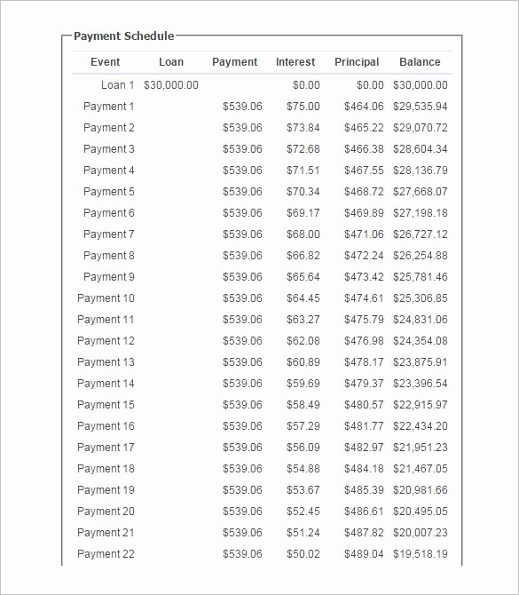 Payment Schedule Template Excel New 11 Loan Payment Schedule Templates Free Word Excel