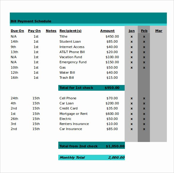 Payment Schedule Template Excel New 21 Monthly Work Schedule Templates Pdf Doc