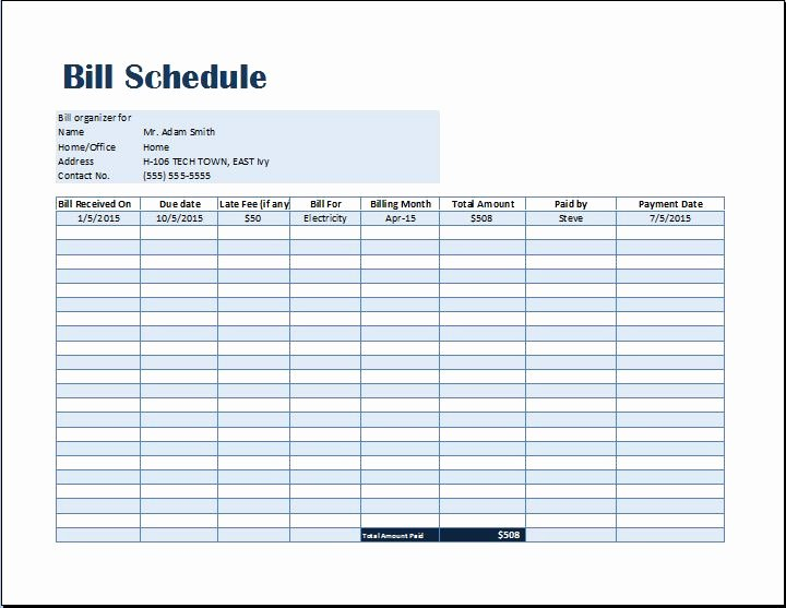 Payment Schedule Template Excel New Bill Payment Schedule Template