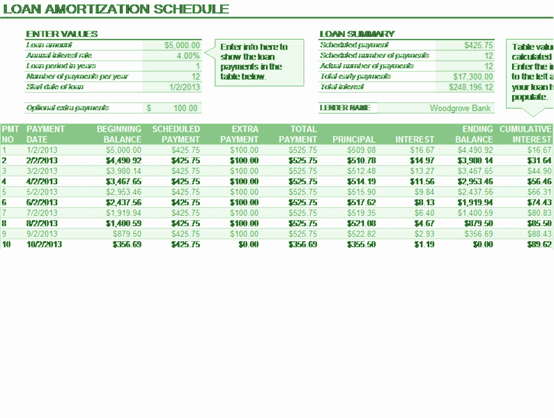 Payment Schedule Template Excel New Download Loan Amortization Schedule