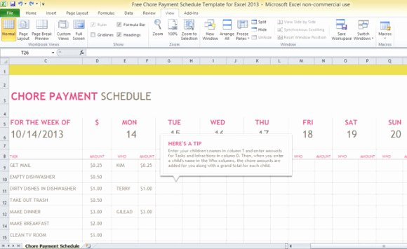 Payment Schedule Template Excel New Free Chore Payment Schedule Template for Excel 2013