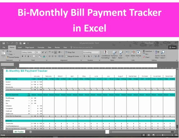 Payment Tracker Excel Template Awesome Bi Monthly Bill Payment Tracker Excel Spreadsheet Editable
