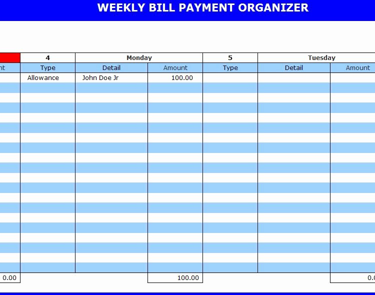 Payment Tracker Excel Template Elegant Bill Payment organizer