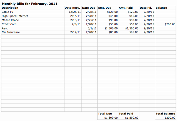 Payment Tracker Excel Template Lovely Monthly Bill Household Bud Template Spreadsheet Preview