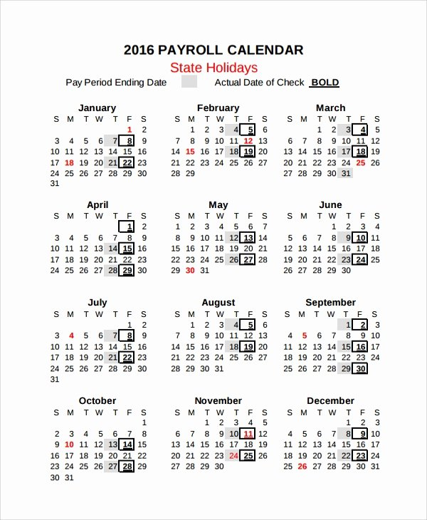Payroll Calendar 2016 Template Awesome 10 Payroll Calendar Templates
