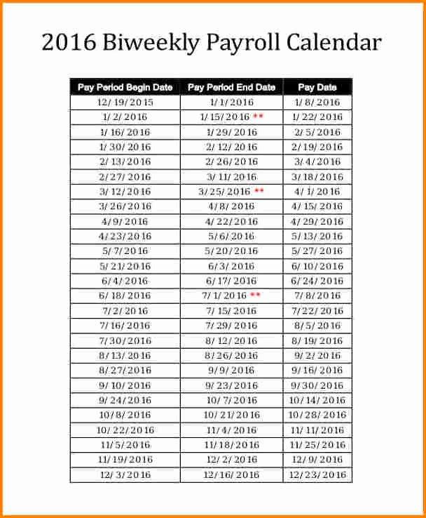 Payroll Calendar 2016 Template Awesome 6 2016 Biweekly Payroll Calendar Template
