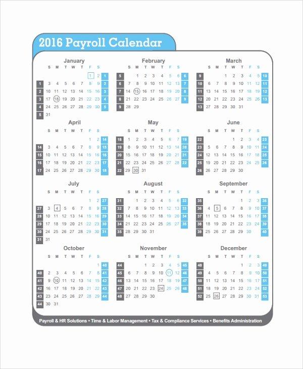 Payroll Calendar 2016 Template Fresh 10 Payroll Calendar Templates