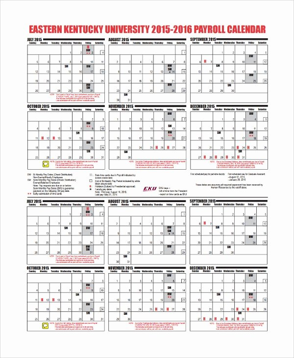 Payroll Calendar 2016 Template Inspirational 10 Payroll Calendar Templates