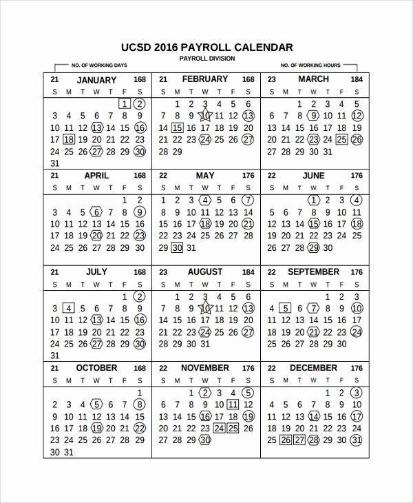 Payroll Calendar 2016 Template New 10 Payroll Calendar Templates