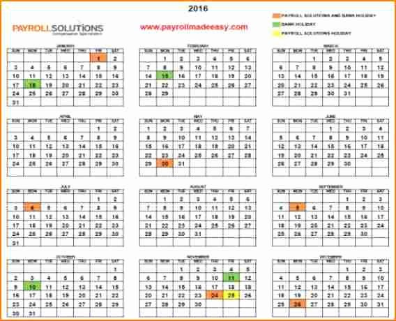 Payroll Calendar 2016 Template Unique 11 Payroll Calendar Templates